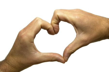 Hands forming the shape of a heart. Isolated on white, so the heart can be filled with whatever you need.