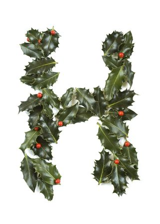 h: Holly Leaves with berrys in the form of the letter H. Isolated on white.
