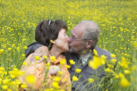 Lovely senoir couple kissing in a green grass field full of buttercups. Stock Photo