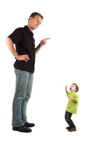 Caricature of a large father and an extra small child. The child is very scared for his father. Use it for all kinds of raising children problems. Stockfoto