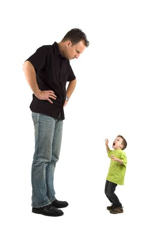 upbringing: Caricature of a large father and an extra small child. The child is very scared for his father. Use it for all kinds of raising children problems. Stock Photo