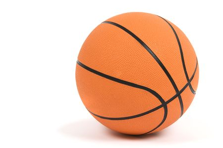 Simple image of a basketball on a white background.