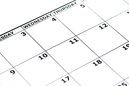 Part of an empty calender isolated on white.