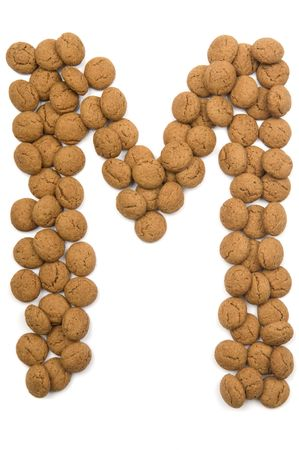 Little ginger nuts in the form of the letter M. These little ginger nuts are used in Holland for the