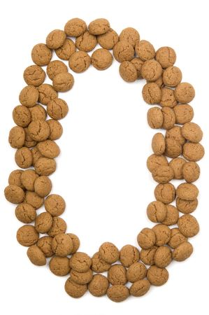 ginger nuts: Little ginger nuts in the form of the letter O. These little ginger nuts are used in Holland for the Sinterklaas party, which is at Dec 5 every year. Sinterklaas is a sort of Santa Claus. In Holland these ginger nuts are called pepernoot. Isolated on