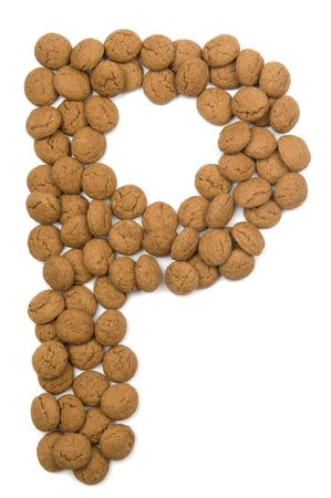 pepernoot: Little ginger nuts in the form of the letter P. These little ginger nuts are used in Holland for the Sinterklaas party, which is at Dec 5 every year. Sinterklaas is a sort of Santa Claus. In Holland these ginger nuts are called pepernoot. Isolated on