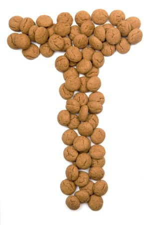 sinterklaas: Little ginger nuts in the form of the letter T. These little ginger nuts are used in Holland for the Sinterklaas party, which is at Dec 5 every year. Sinterklaas is a sort of Santa Claus. In Holland these ginger nuts are called pepernoot. Isolated on