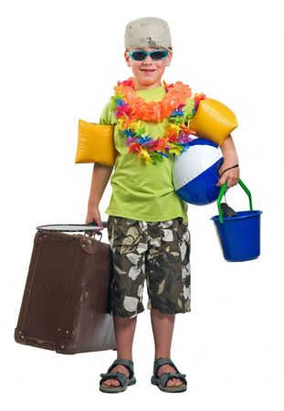 This boy is ready to go on summer vacation.