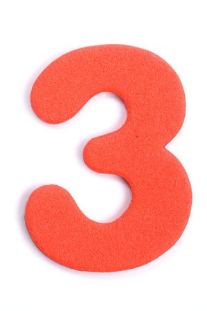 The digit three in foam material.
