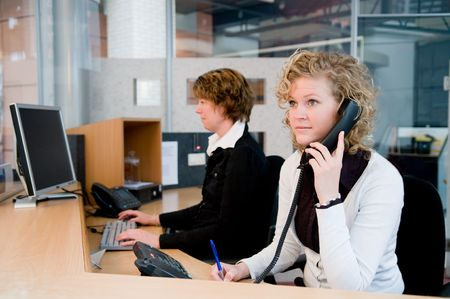 Reception or front desk in an officebuilding Stock Photo