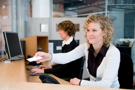reception office: Reception or front desk in an officebuilding Stock Photo