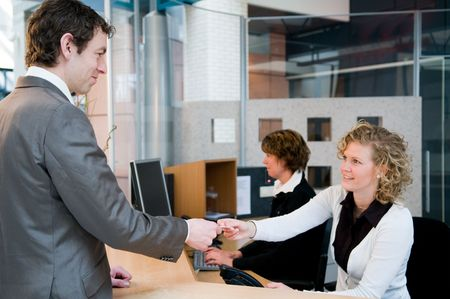 front desk: Reception or front desk in an officebuilding Stock Photo