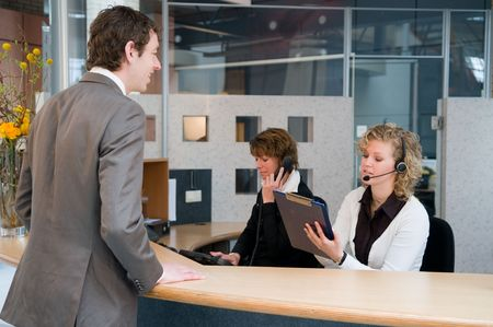receptionist: Reception or front desk in an officebuilding Stock Photo