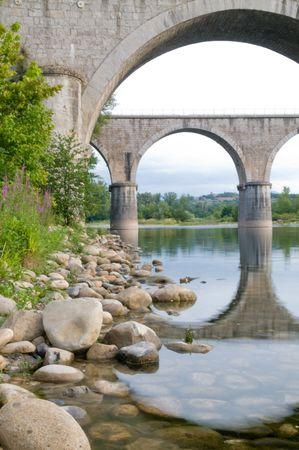 Beautiful bridge crossing the Ardeche in France Фото со стока