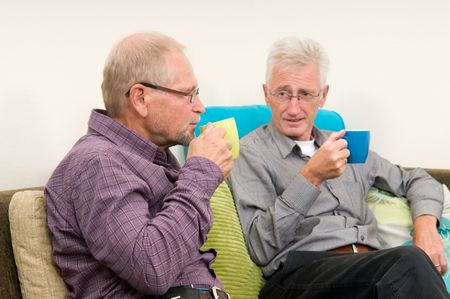 discussing: Two senior men drinking coffee and discussing some things. Stock Photo