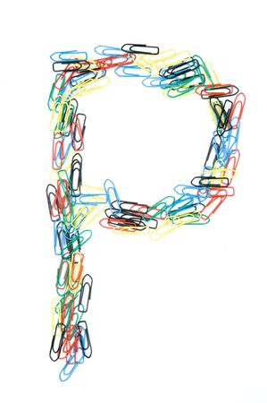 Letter P formed with colorful paperclips Stock Photo