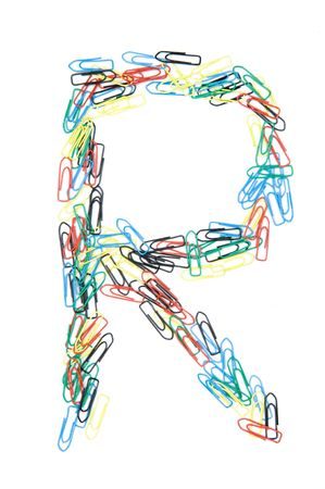 monotype: Letter R formed with colorful paperclips