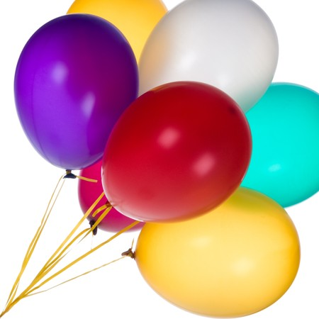 Bunch of colorful balloons against a white background. Фото со стока - 7621222