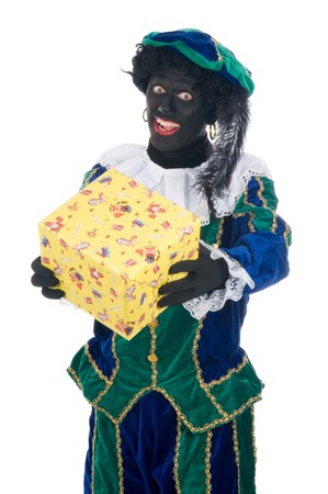 zwarte: Zwarte Piet is giving a present to a child for a festive called Sinterklaas . Sinterklaas is a Dutch tradition which is celebrated on Dec. 5th.