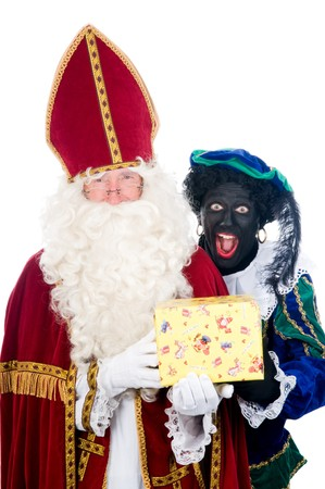 Saint Nicholas and his helper Stock Photo - 8124643