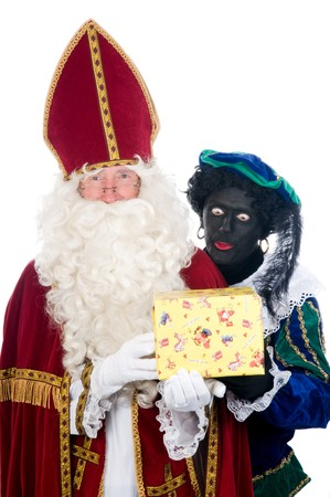 Saint Nicholas and his helper Stock Photo - 8124641