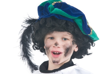 Jonge kind spelen Zwarte Piet (Black Pete), dit is een Nederlandse traditie als Sinterklaas wordt gevierd in december. Stockfoto - 8989192