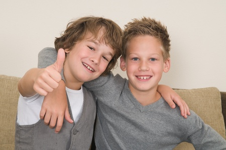 These two boys are best friends. Friends for life! Stock Photo