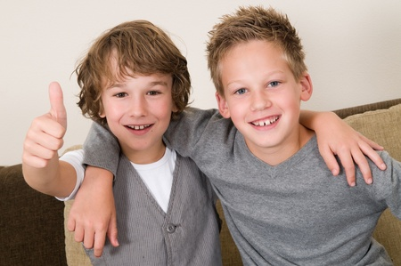 brothers: These two boys are best friends. Friends for life! Stock Photo