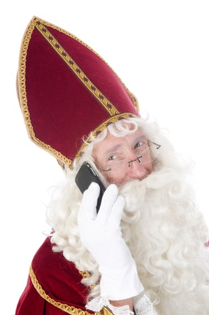 nicolas: Sinterklaas using a mobile phone