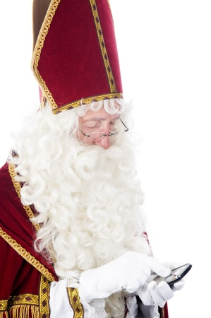 Sinterklaas using a mobile phone photo