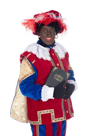 Zwarte Piet is een karakter, een deel van een Nederlandse traditie heet Sinterklaas, die wordt gevierd op december de vijfde Stockfoto