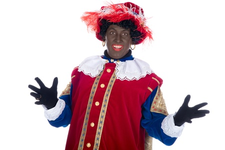 'black pete': Zwarte Piet is a character, part of a  Dutch tradition called Sinterklaas, which is celebrated at December the fifth. Stock Photo