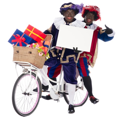 sinterklaas: Zwarte Piet is a character, part of a  Dutch tradition called Sinterklaas, which is celebrated at December the fifth. Stock Photo