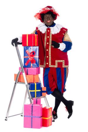 zwarte: Zwarte piet is going to bring the presents to the children
