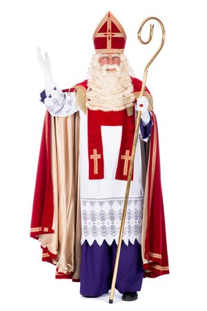 Portrait of Santa claus with staff, on a white  photo