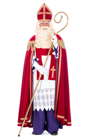 nicolas: Portrait of Santa Claus with staff, on a white  Stock Photo