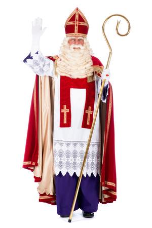 Портрет Санта-Клауса с персоналом, на белом Фото со стока