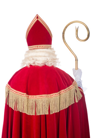 Portrait photo of Sinterklaas from the back, on a white background photo