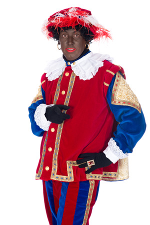 zwarte piet: Portrait of Zwarte Piet on a white background