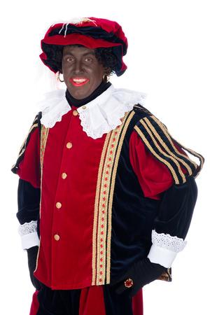 zwarte piet: Portrait of Zwarte Piet on a white background
