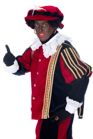 piet: Portrait of Zwarte Piet on a white background
