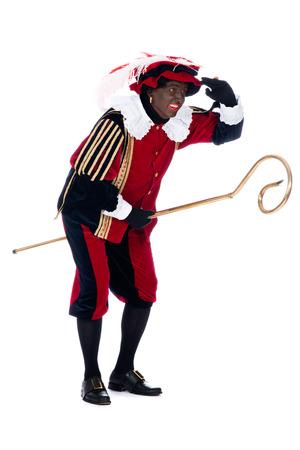 Zwarte Piet acting funny with the staff of Sinterklaas
