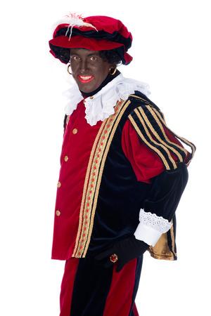 Portrait of Zwarte Piet on a white background