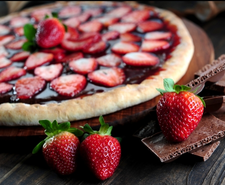 Strawberry pizza Stock Photo