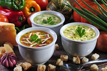 healthily: Tasty mini soups bowls Stock Photo