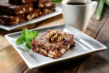 Brownie with a cup of coffee