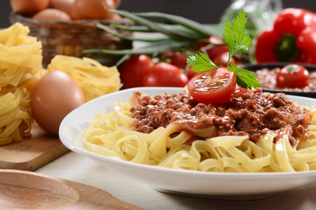fettuccine: Fettuccine with bolognese sauce Stock Photo