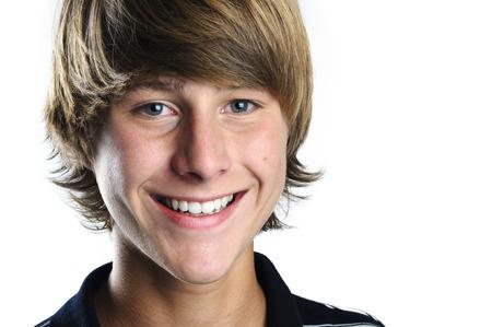 Handsome blond student boy smiling