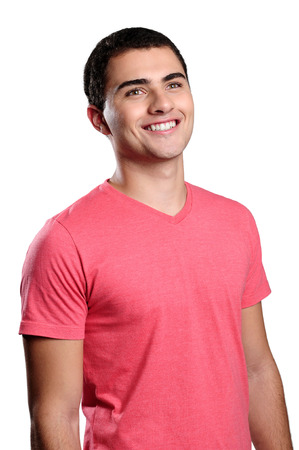 vestibular: Smiling boy smiling wearing pink t-shirt Stock Photo