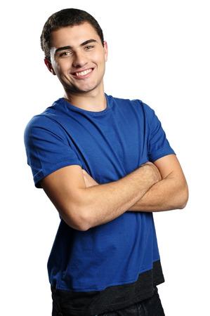 Smiling boy wearing blue t-shirt